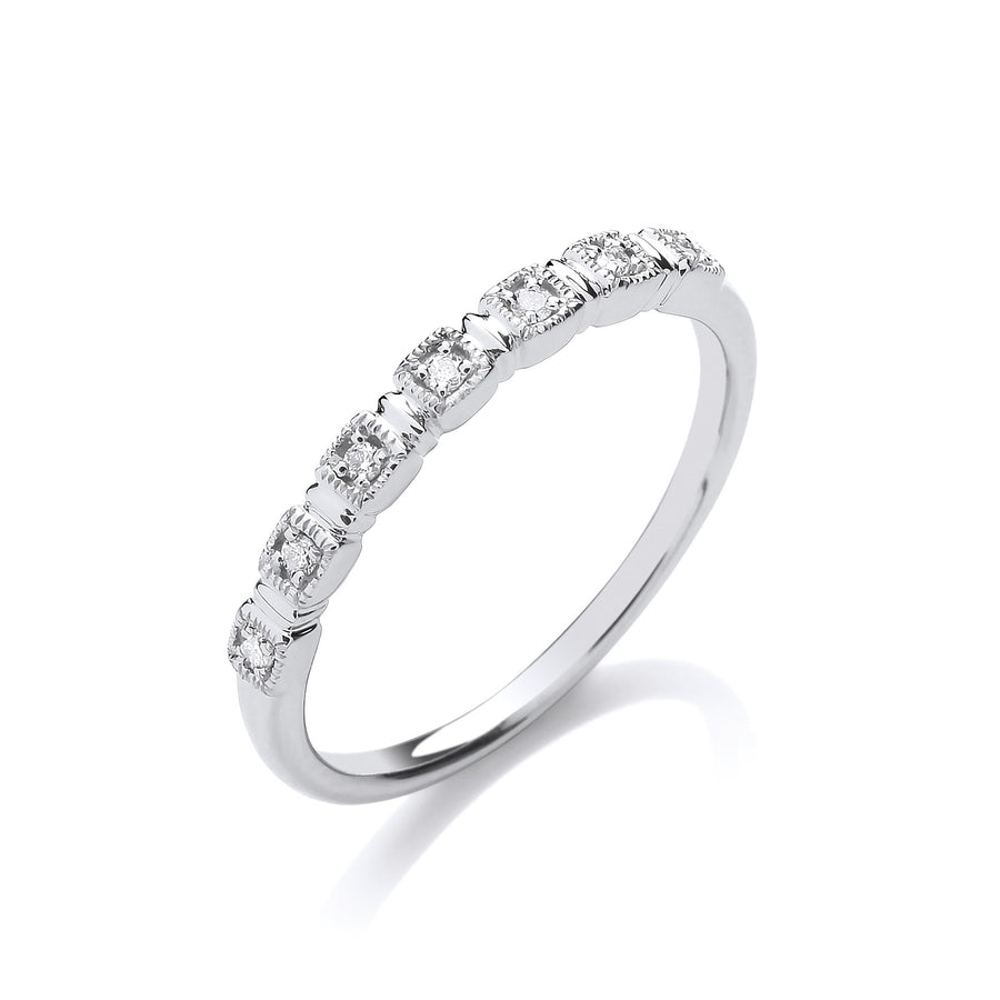 9ct White Gold Half Eternity 0.05ctw Diamond Ring