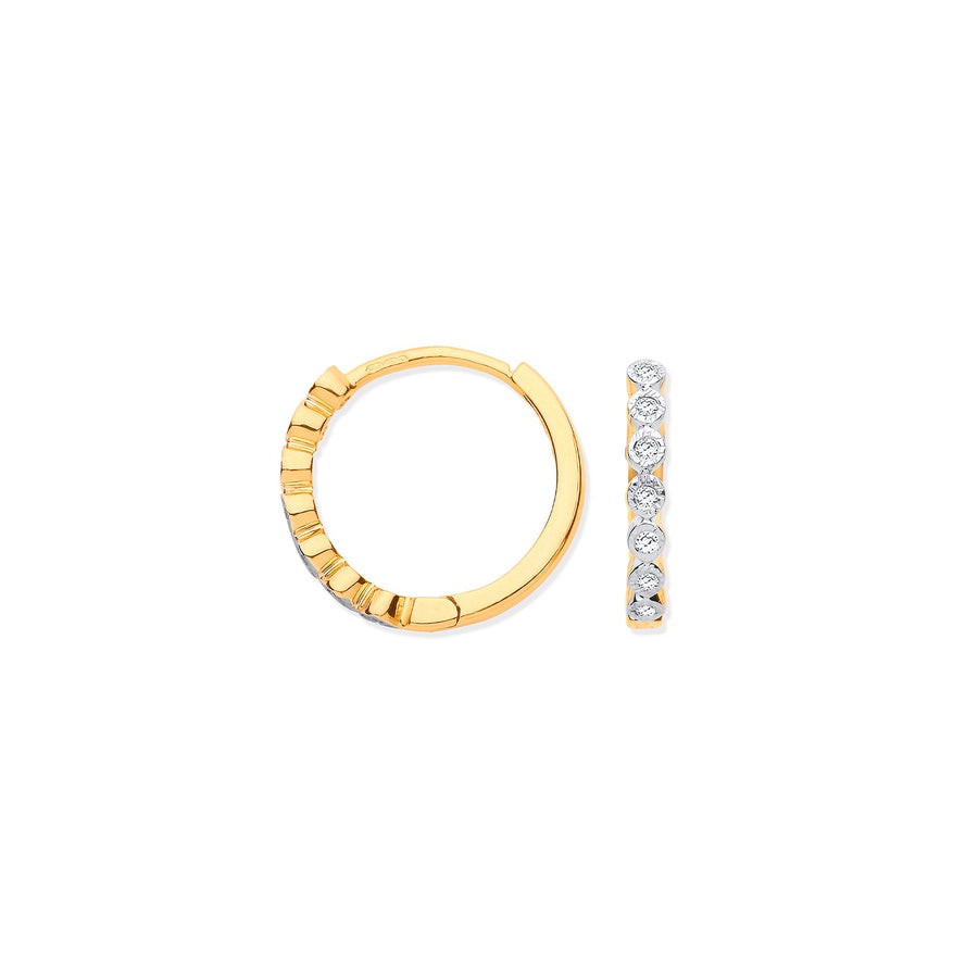 9ct Yellow Gold Round 0.10ctw Diamond Hoops