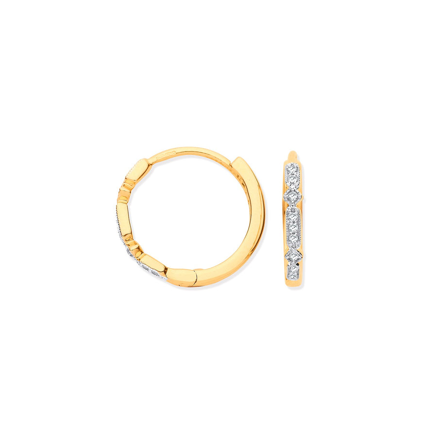 9ct Yellow Gold Round 0.08ctw Diamond Hoops