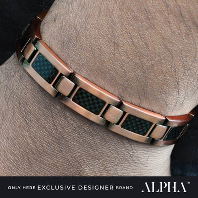 mens copper bracelet carbon