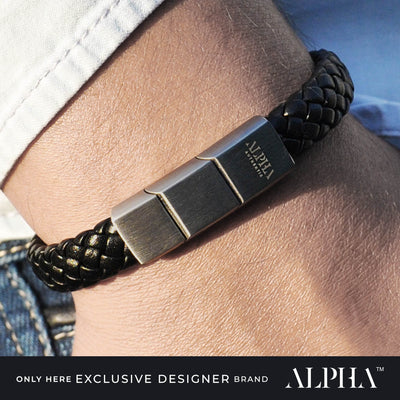 mens designer leather bracelet black