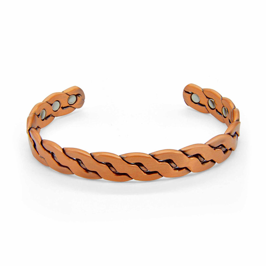 Niles Plaited Magnetic Copper Bangle-DEMI+CO Jewellery