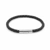 Oxford black leather plaited bracelet-DEMI+CO Jewellery