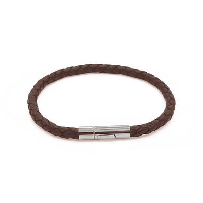 Oxford brown leather braided bracelet-DEMI+CO Jewellery
