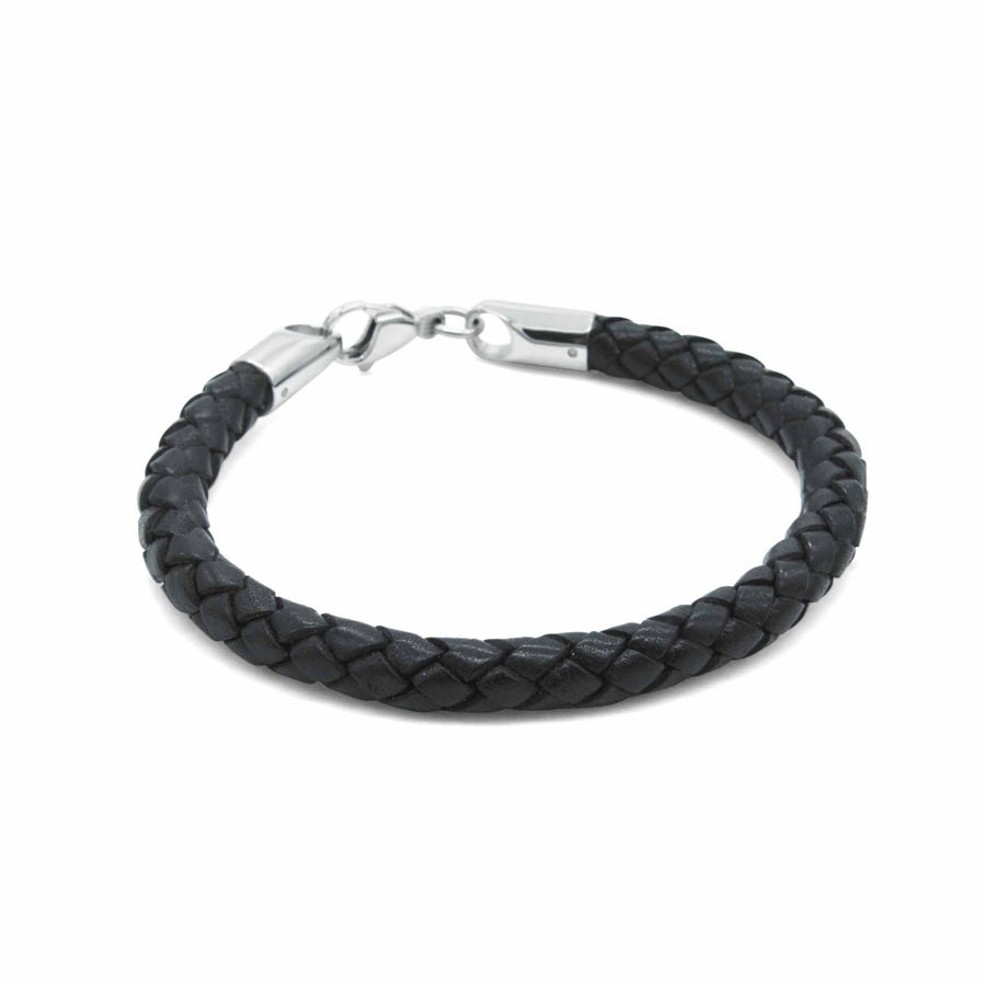 Preppy black leather bracelet-DEMI+CO Jewellery
