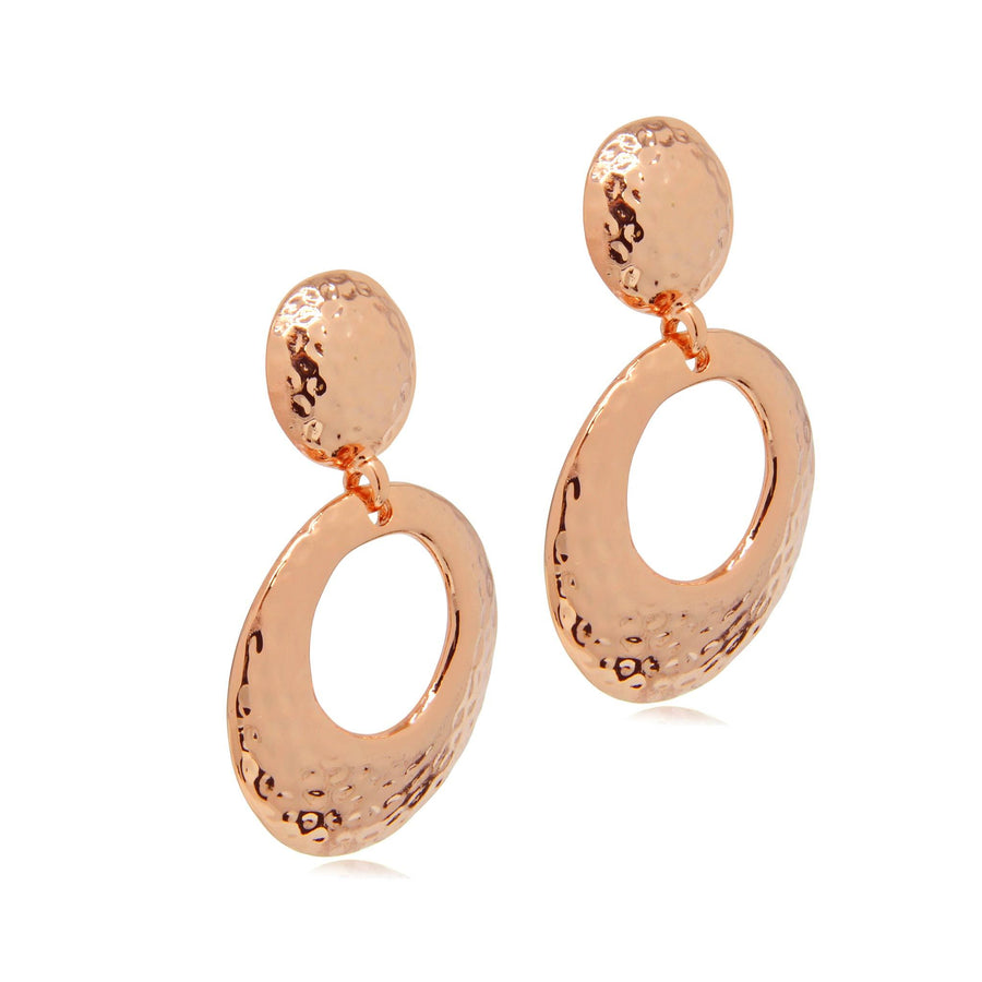 Ria textured rose gold earrings-DEMI+CO Jewellery