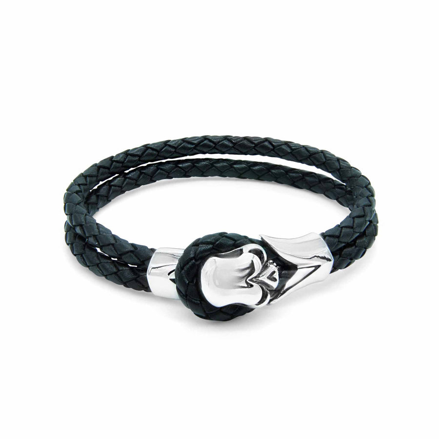 Rocker skull grey braided leather bracelet | ALPHA™ mens