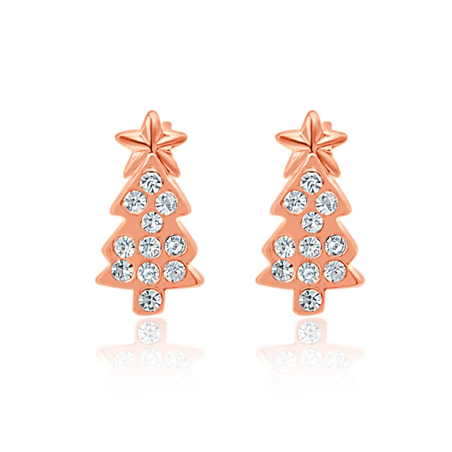 Rose gold Christmas tree studs-DEMI+CO Jewellery