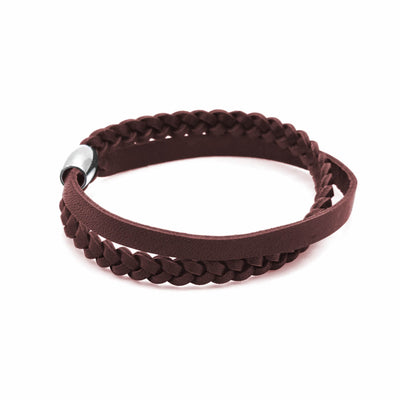 Rugged double wrap brown leather plaited bracelet-DEMI+CO Jewellery