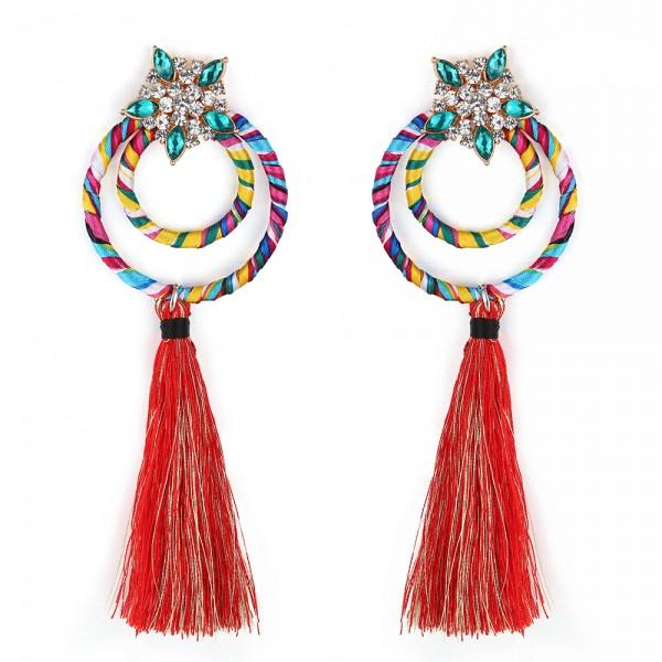 Seniorita multi coloured tassel earrings