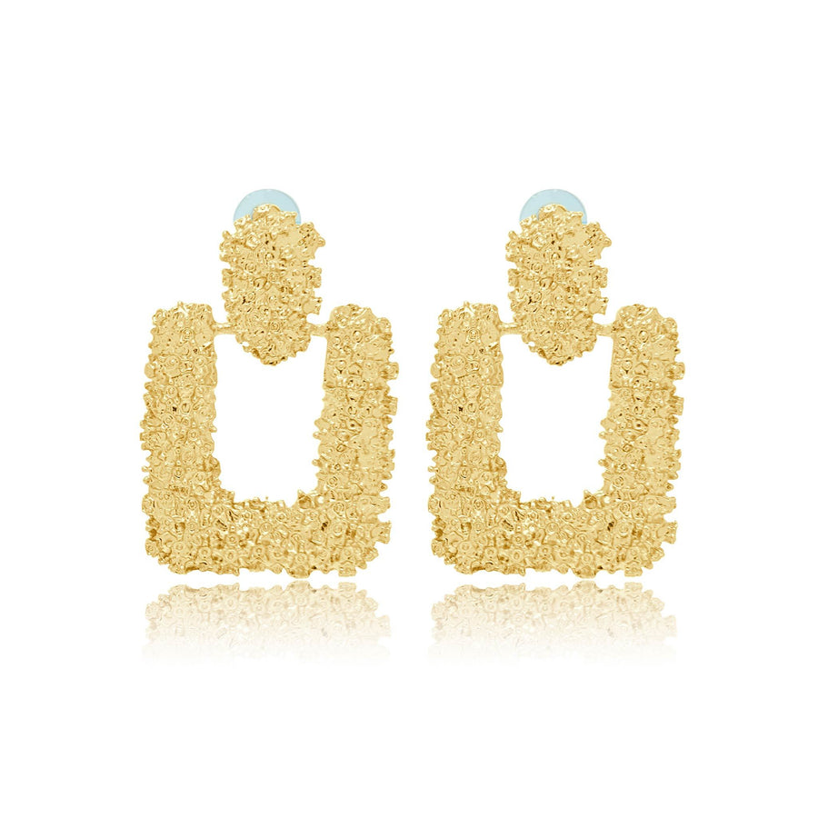 Serena textured gold effect statement earrings