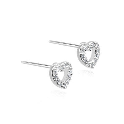 Sienna silver open heart earrings-DEMI+CO Jewellery