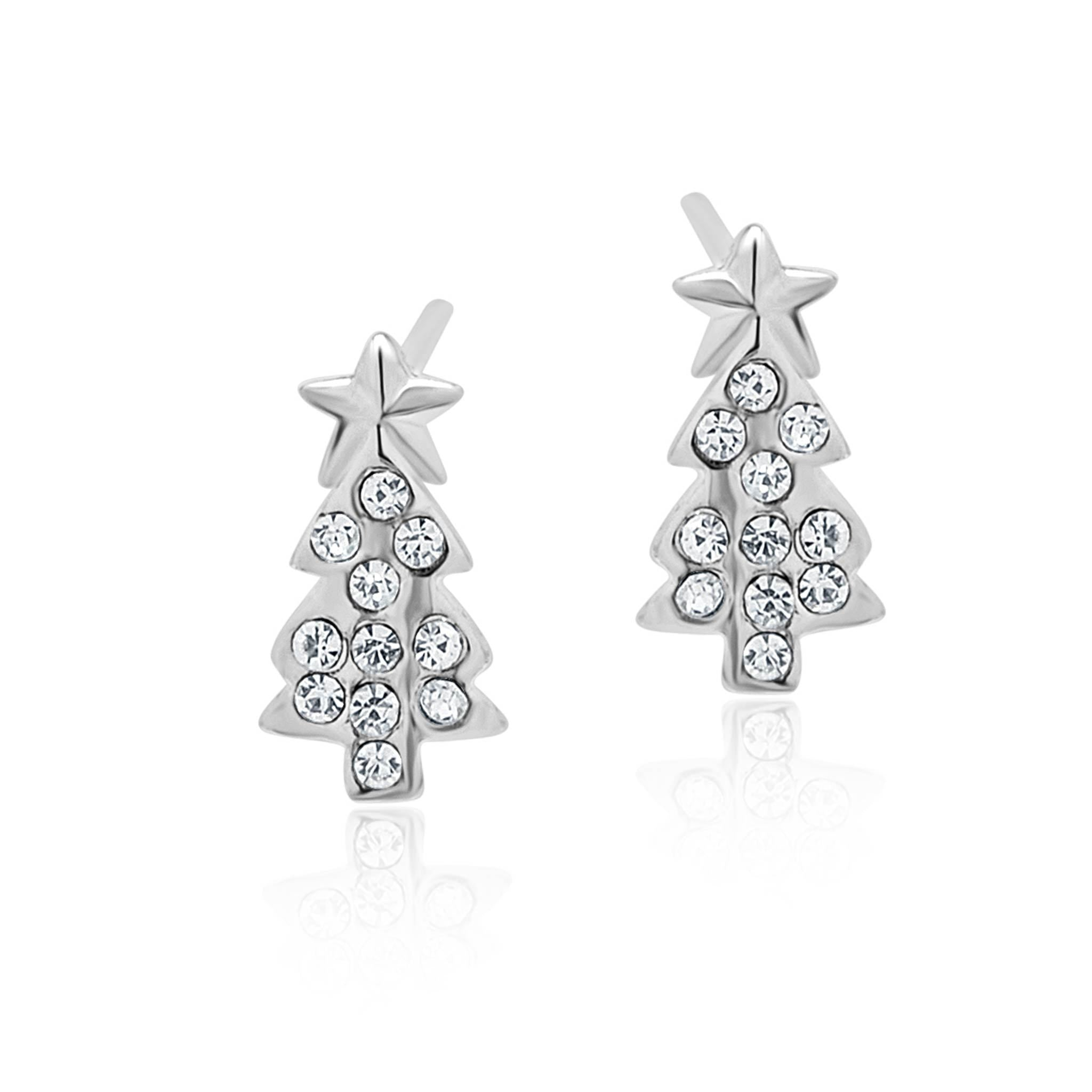 Silver Christmas tree studs-DEMI+CO Jewellery