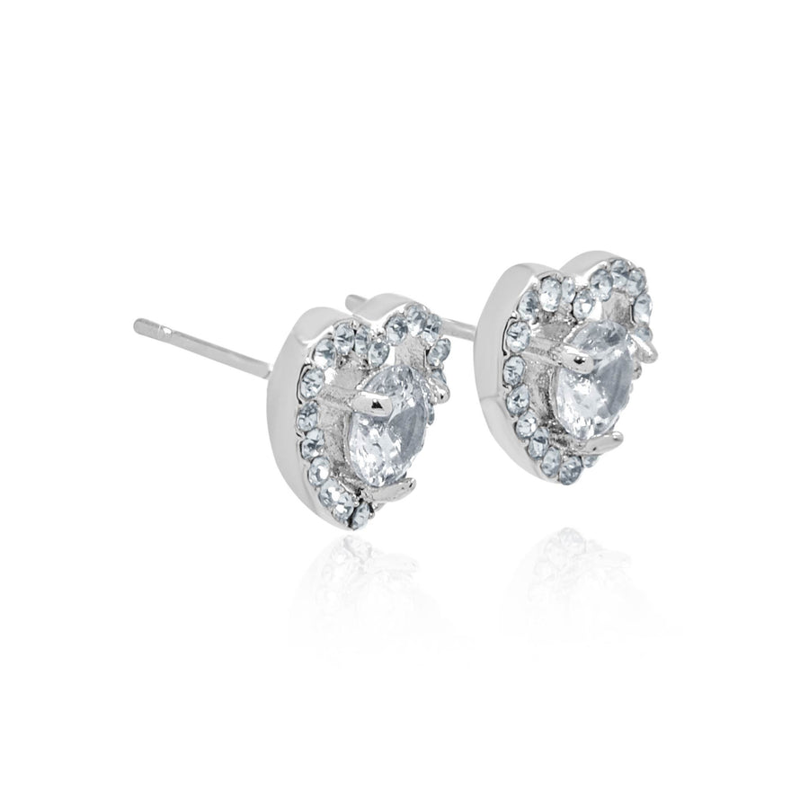 Skye heart circle stud earrings-DEMI+CO Jewellery