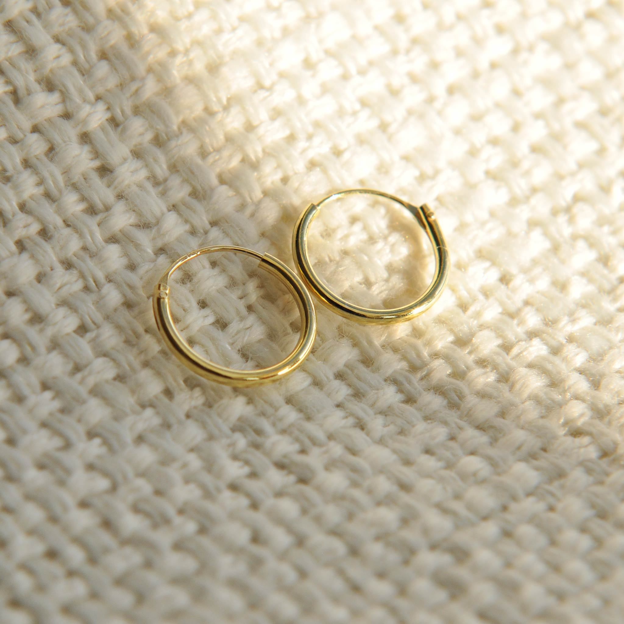 10mm gold huggie earrings