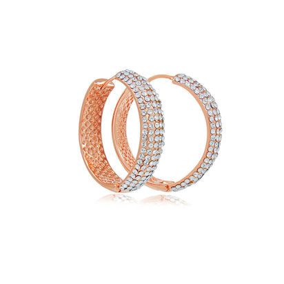 Stella diva rose gold crystal hoop earrings-DEMI+CO Jewellery