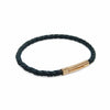 Superior Oxford black leather plaited rose gold clasp bracelet-DEMI+CO Jewellery