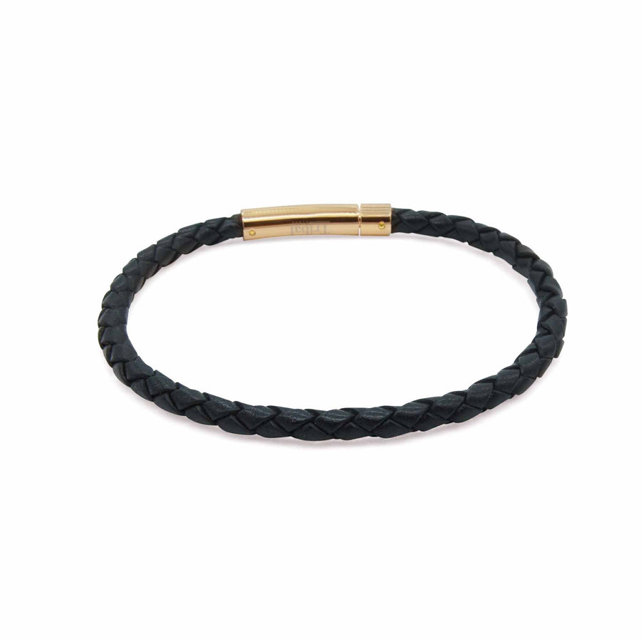 Superior Oxford black leather plaited rose gold clasp bracelet | ALPHA™ mens