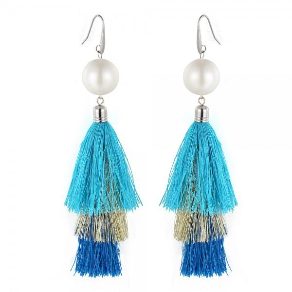 Three shades of blue tassel earrings-DEMI+CO Jewellery
