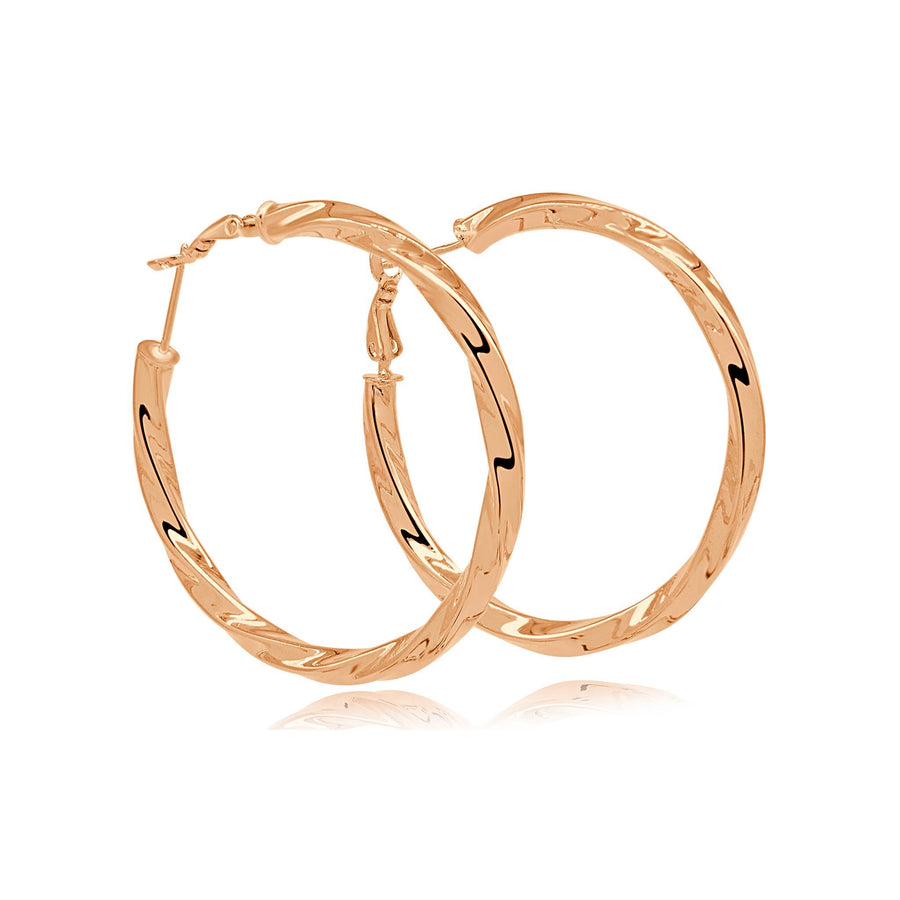 Twisted love rose gold hoops