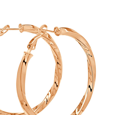 Twisted love rose gold hoops-DEMI+CO Jewellery