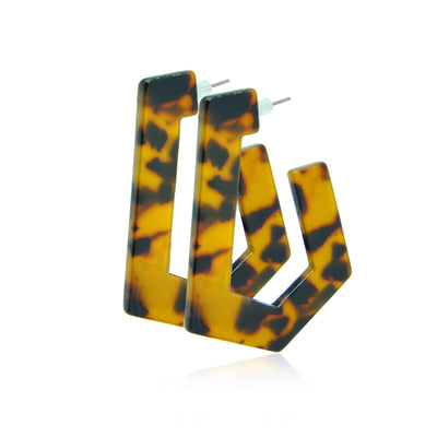 Wild cat geometric resin earrings-DEMI+CO Jewellery
