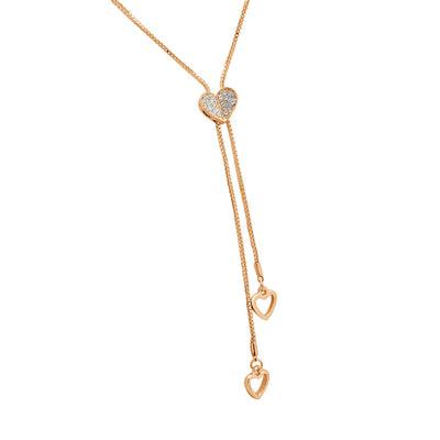 Yours forever rose gold lariat heart Necklace-DEMI+CO Jewellery