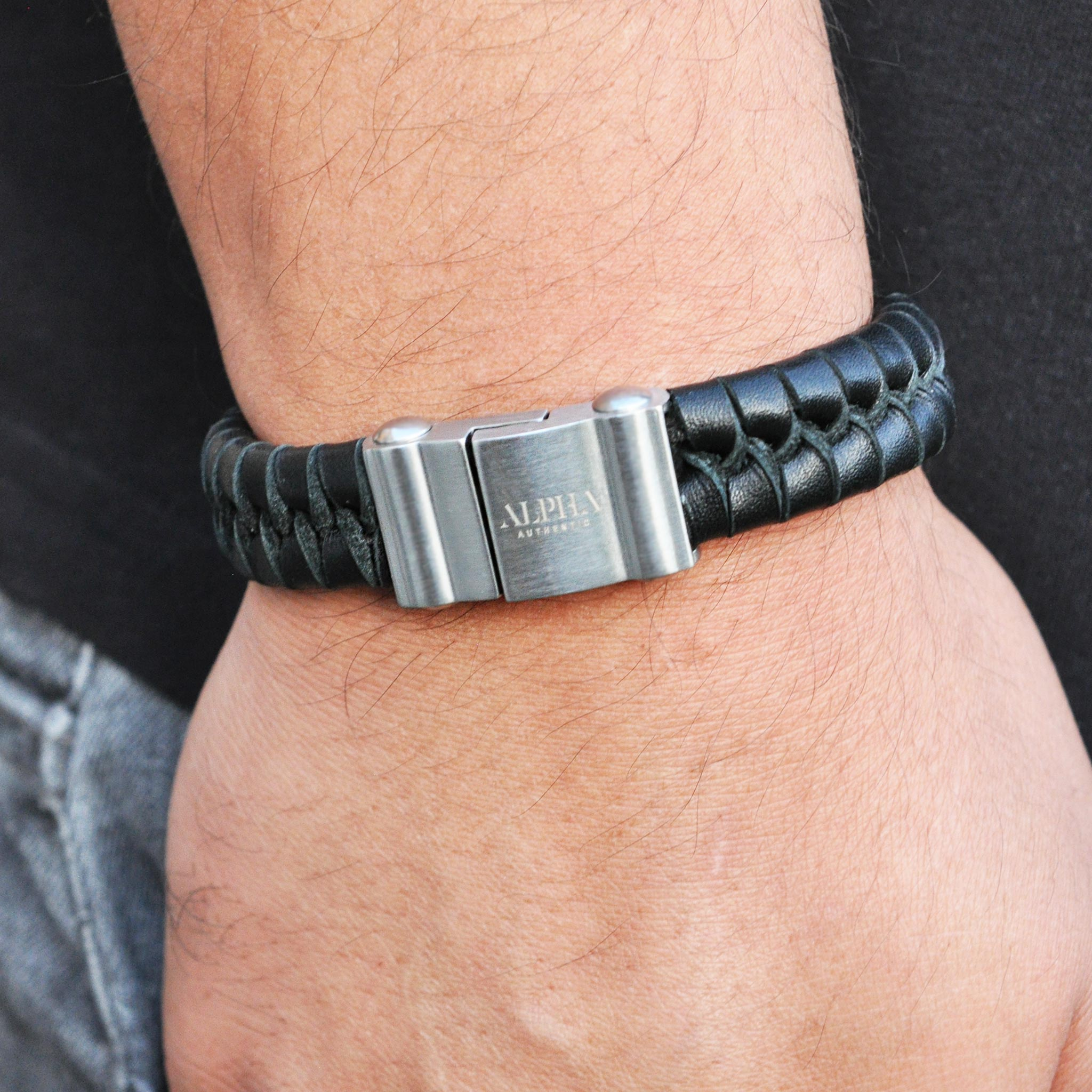 Panther black leather stainless steel bracelet | ALPHA™ mens
