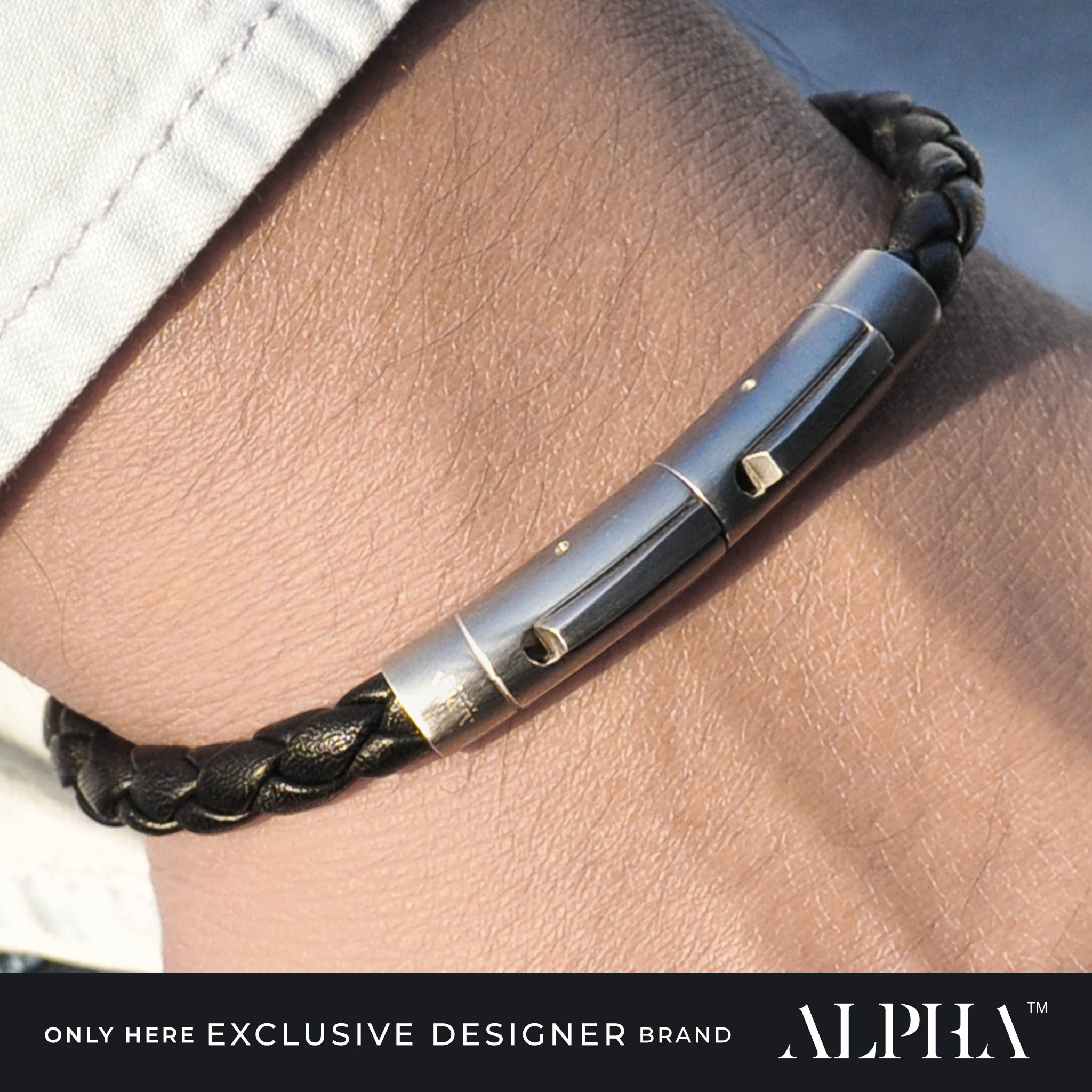 Phantom black leather stainless steel bracelet | ALPHA™ mens