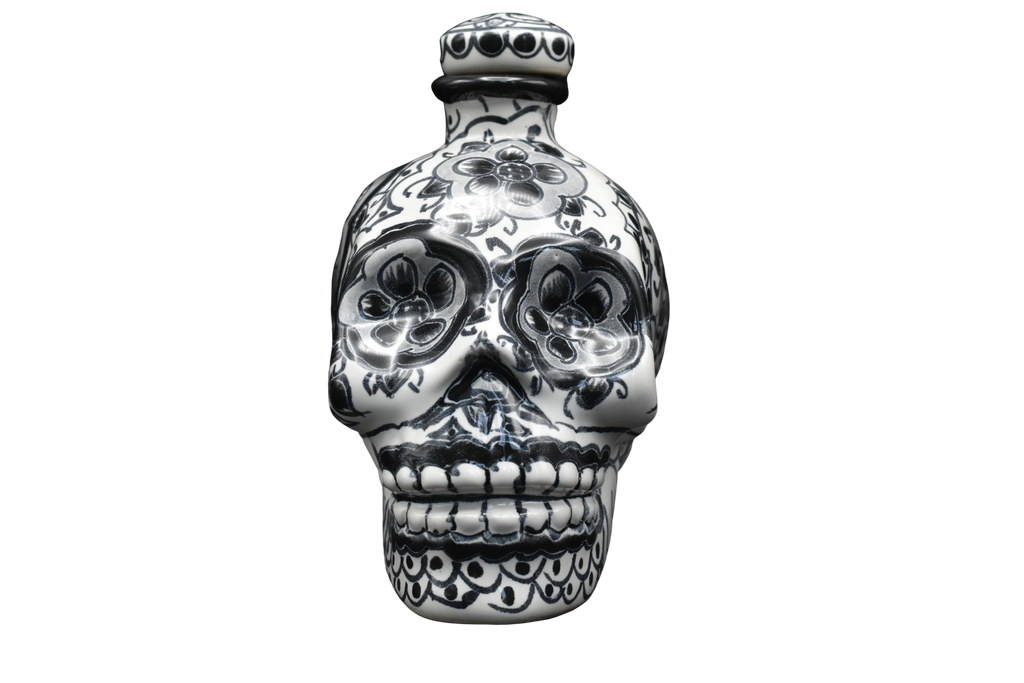 Hand Painted Ceramic Skull Decanter 600ml- Black/White