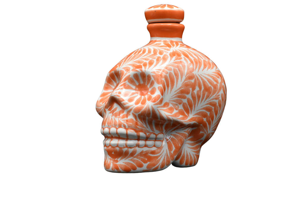 Hand Painted Ceramic Skull Decanter 600ml- Orange/White