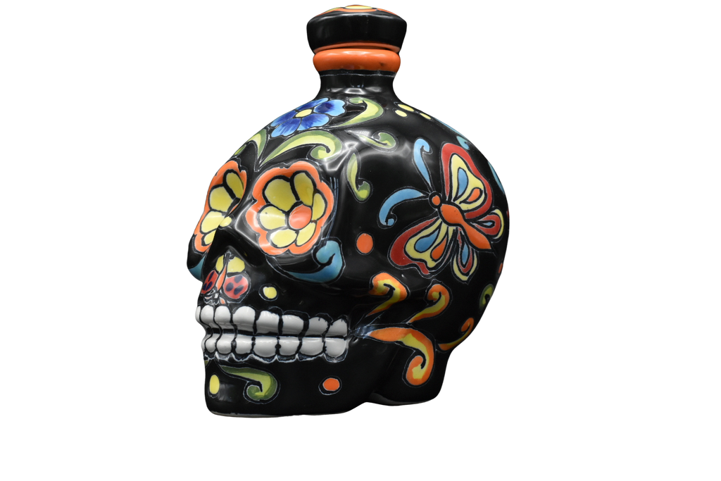 Hand Painted Ceramic Skull Decanter 600ml - Black/Yellow