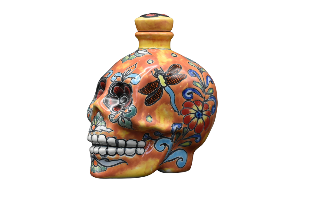 Hand Painted Ceramic Skull Decanter 600ml- Orange/Yellow