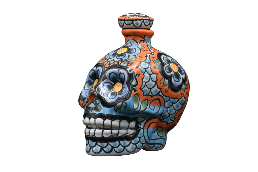 Hand Painted Ceramic Skull Decanter 600ml - Orange/Blue