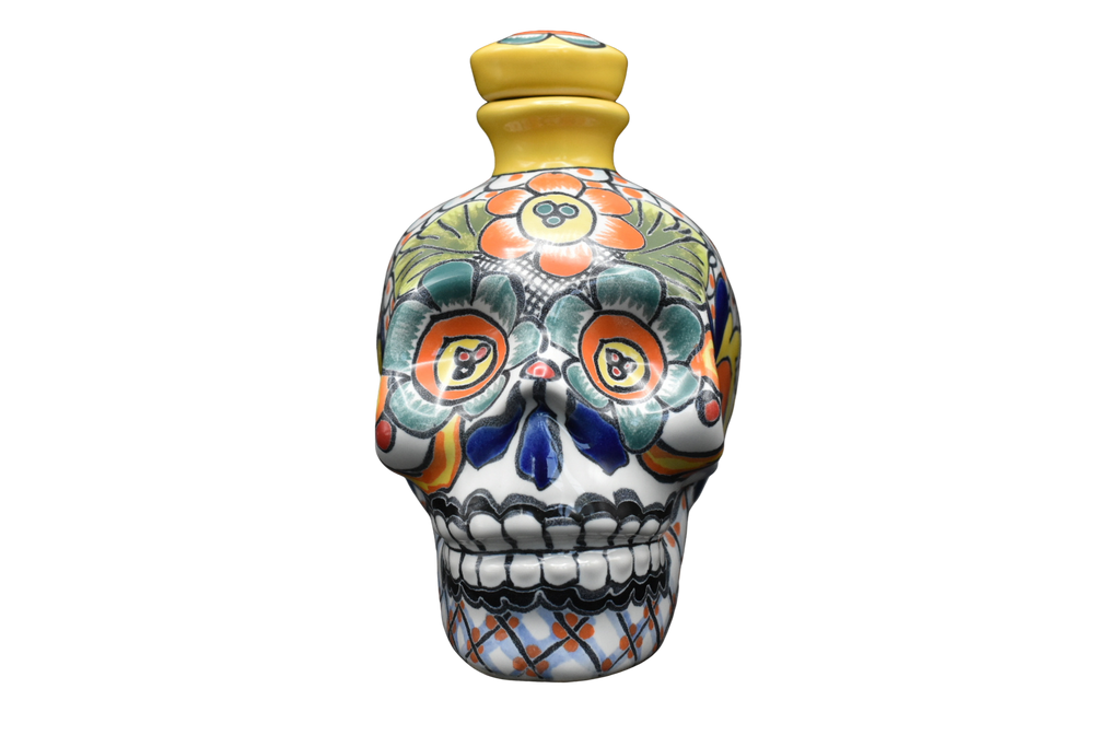Hand Painted Ceramic Skull Decanter 600ml - Yellow/Green