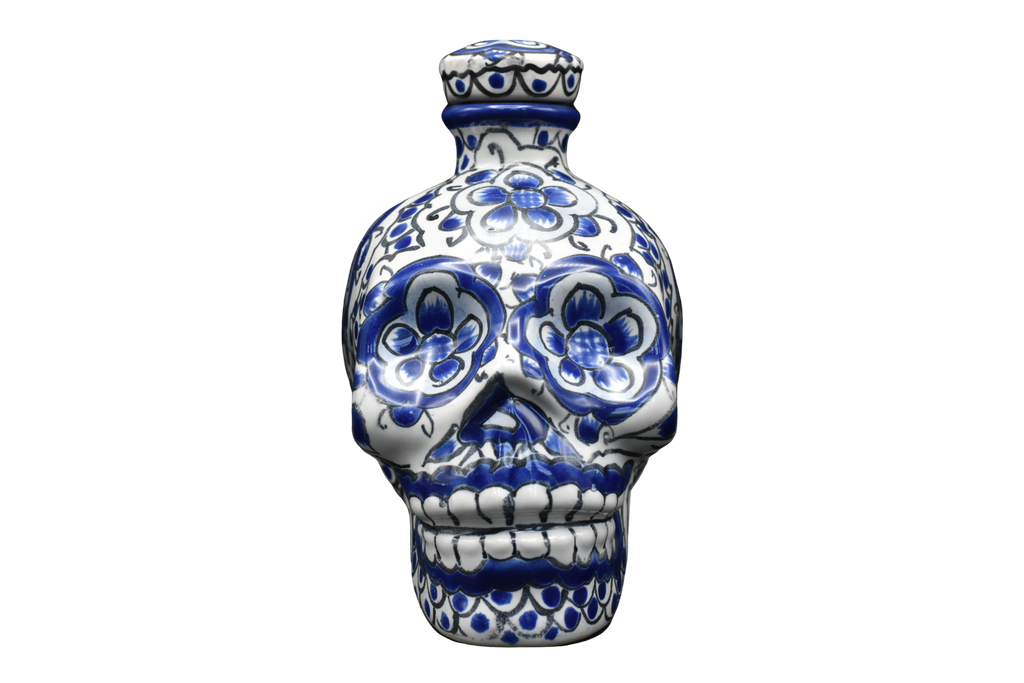Hand Painted Ceramic Skull Decanter 600ml - White/Blue