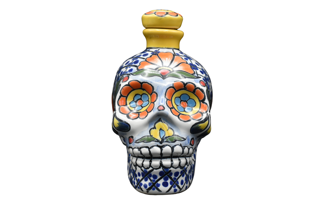 Hand Painted Ceramic Skull Decanter 600ml - Yellow/Blue