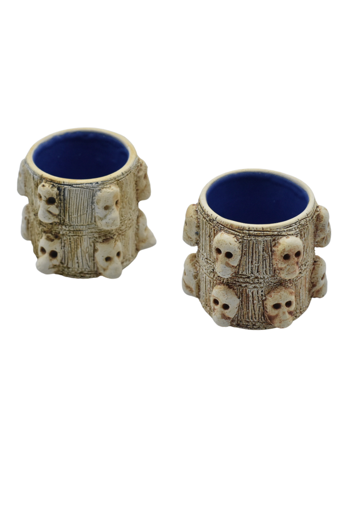 Set of hand-crafted skull sippers by Maestro Omar Hernandez - White