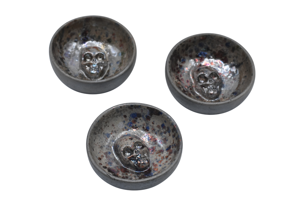 Set of 3 Skull Jicaras | Speckled Grey