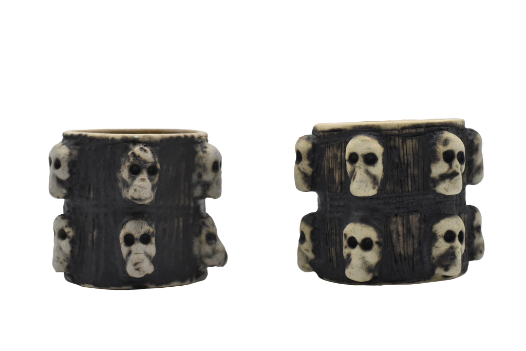 Set of hand-crafted skull sippers by Maestro Omar Hernandez - Black