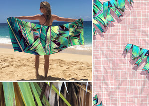 "Surfer Towel ""Palm Shadows"" by Christie Shinn"