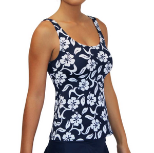 Scoop Tankini Hibiscus Navy