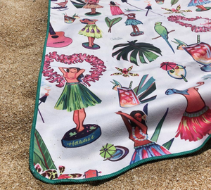 "Surfer Towel ""Dolls of Paradise"" by Christie Shinn"
