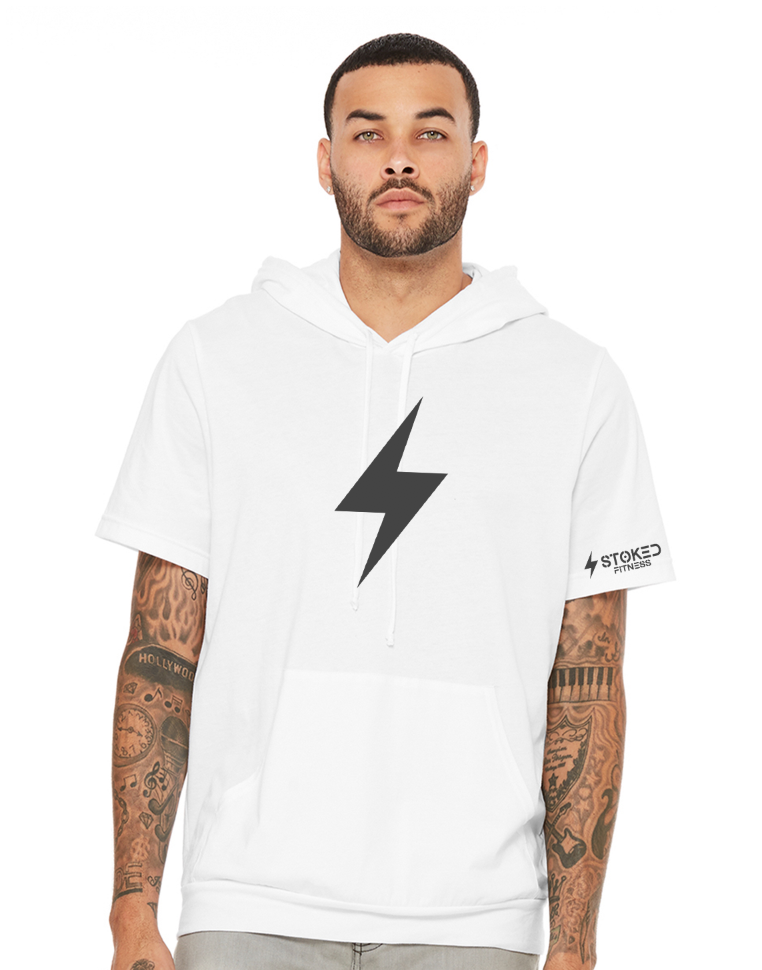STOKED Fitness Premium Terry Short Sleeved Hoodie-White or Black