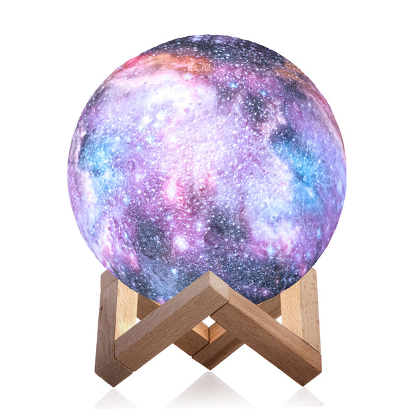 3D Galaxy Lamp with 16 Colors, Wooden Stand and Remote Control