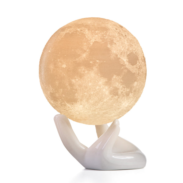 3D Moon Lamp with 2 Colors, Ceramic Hand Stand and Tap Control