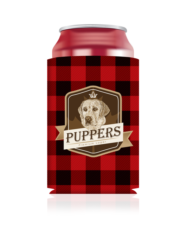 Puppers Plaid Koozie