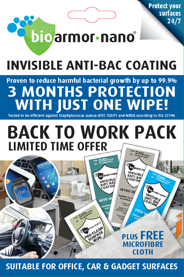 BACK TO WORK PACK - TRADE SALES ONLY - A special 'COMBO' pack for retailers and B2B sales only. Priced to allow a retail unit SRP of : - Bioarmor Nano