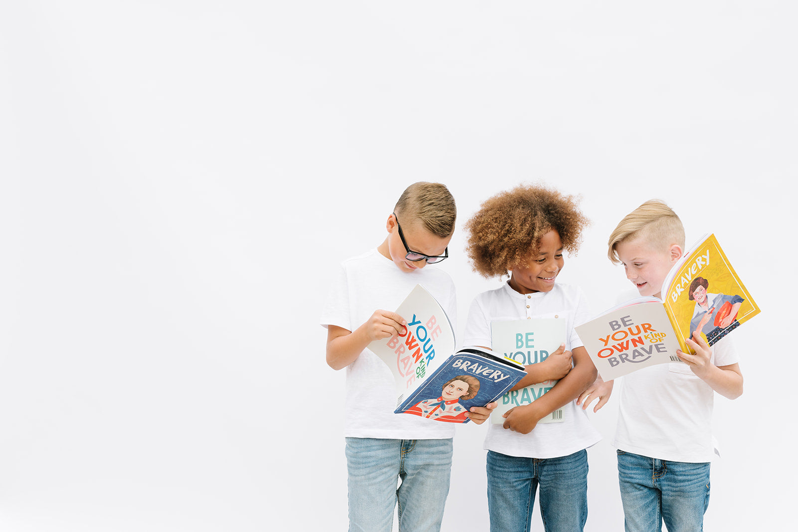 boys reading bravery magazine