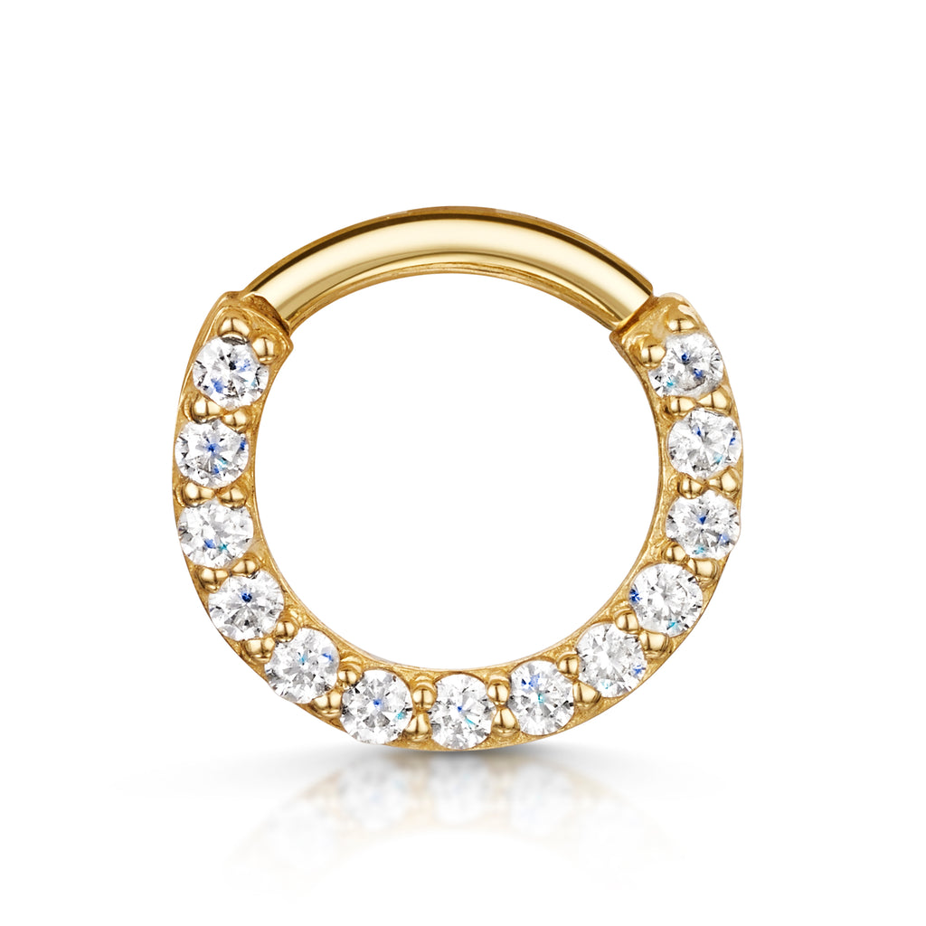 9k yellow solid gold front facing crystal hoop earring for daith or septum - LAURA BOND jewellery